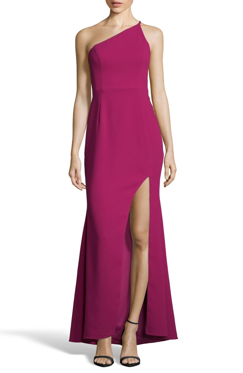 XSCAPE One-Shoulder Crepe Evening Dress, Main, color, MAGENTA