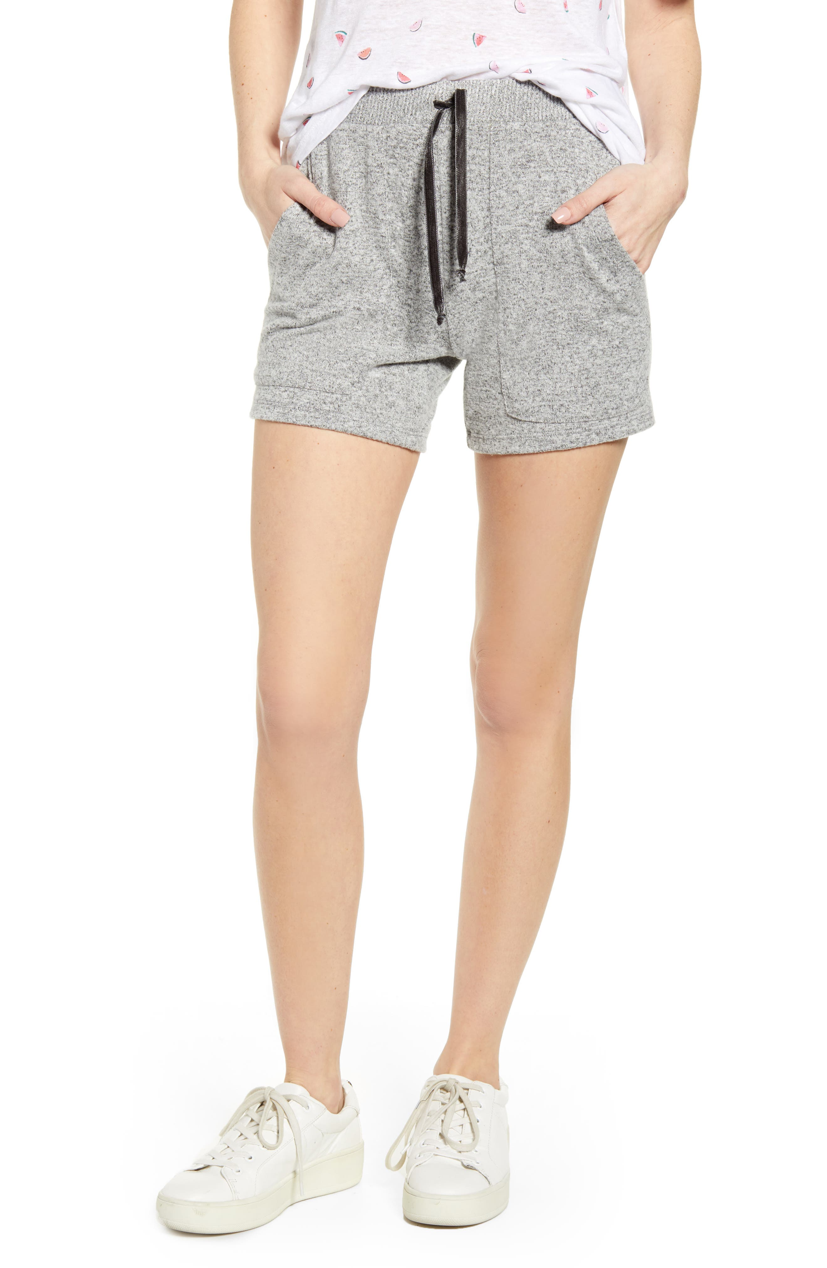 ,                             Robin Drawstring Waist Shorts,                             Main thumbnail 1, color,                             MELANGE GREY