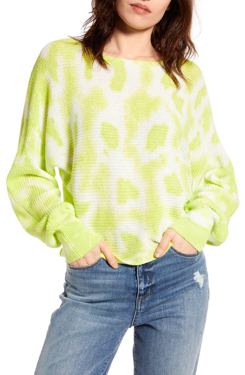 BP. Tie Dye Sweater, Main, color, GREEN