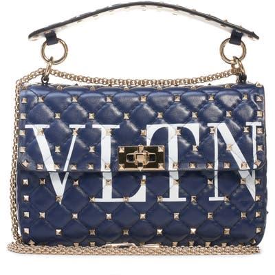 Valentino Garavani Medium Spike. it Vltn Logo Leather Shoulder Bag - Blue