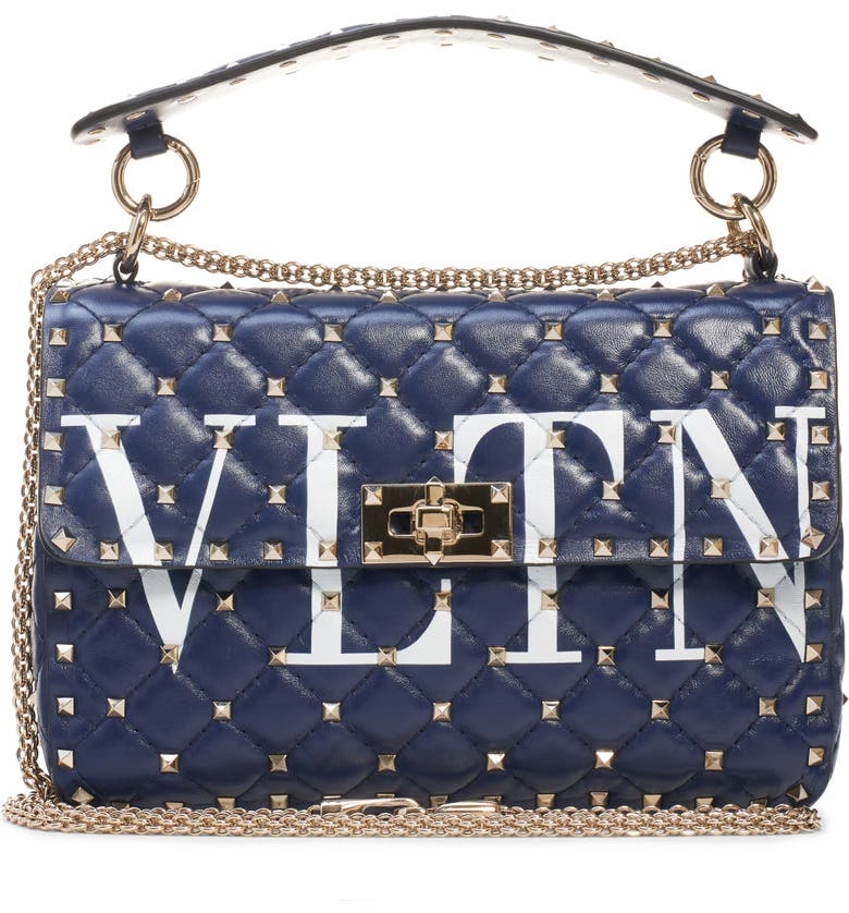 VALENTINO GARAVANI Medium Spike.It VLTN Logo Leather Shoulder Bag, Main, color, PURE BLUE/ BIANCO OTTICO