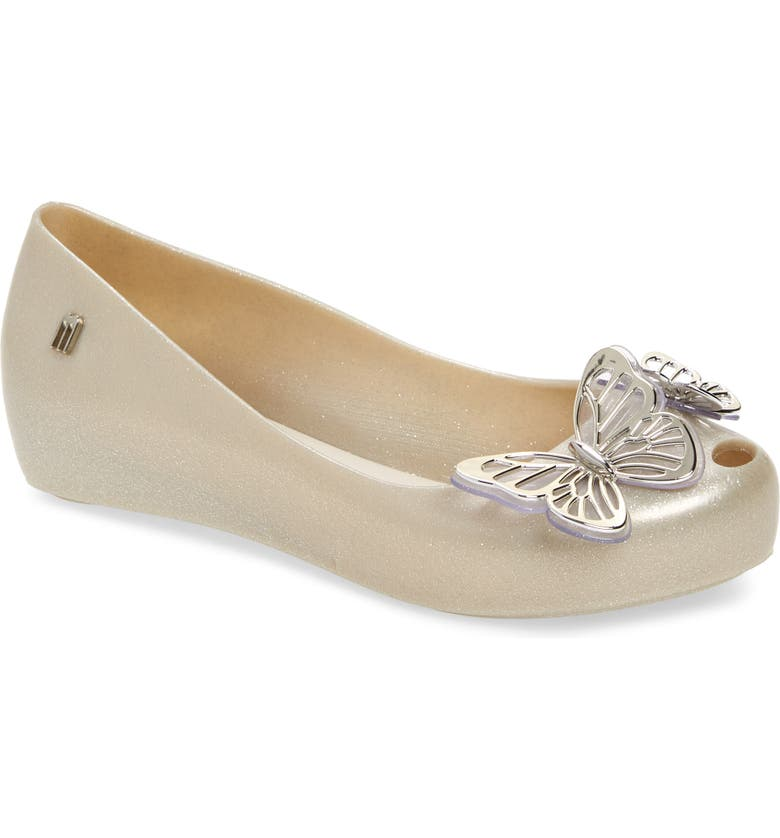 MEL BY MELISSA Ultragirl Fly II Flat, Main, color, SILVER BEIGE