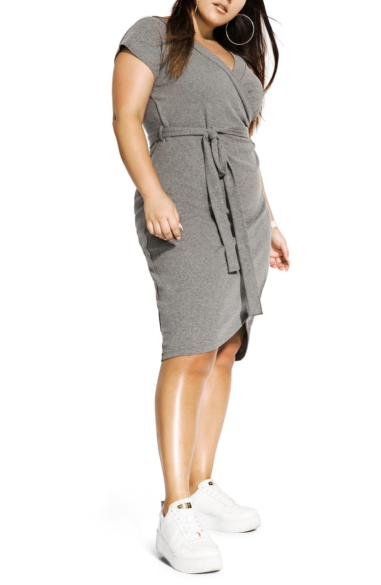 CITY CHIC Lounge Around Faux Wrap Dress, Main, color, DARK CHARCOAL