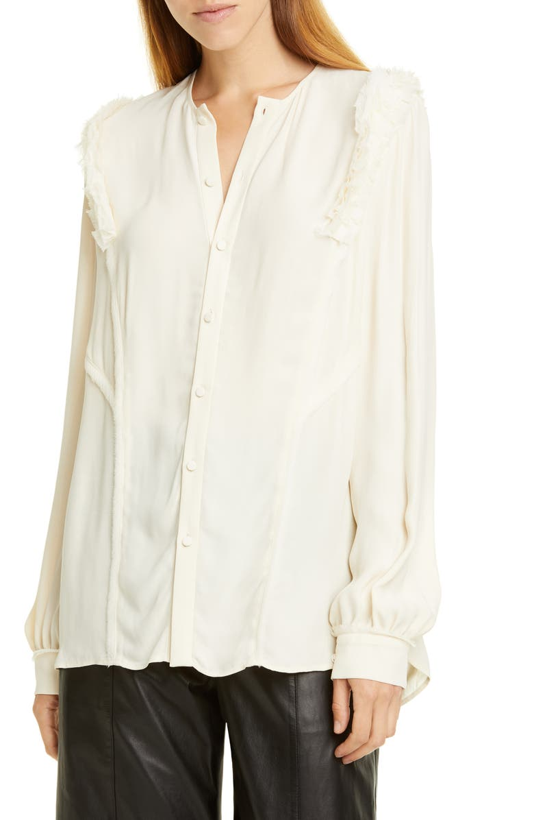 JASON WU Ruffle Button-Up Blouse, Main, color, ALABASTER