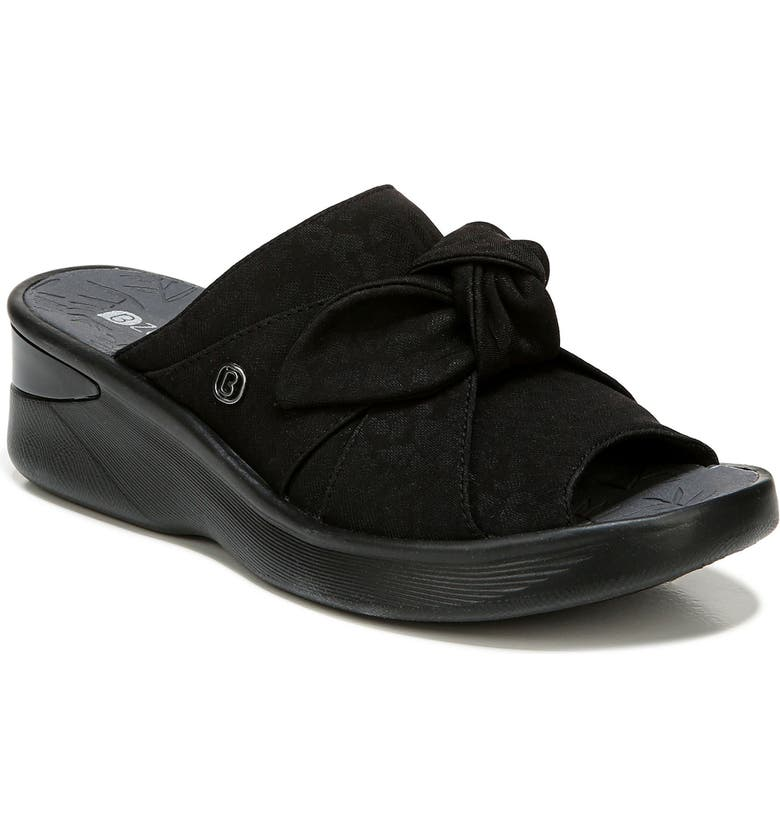 BZEES Smile Wedge Slide Sandal, Main, color, BLACK FABRIC