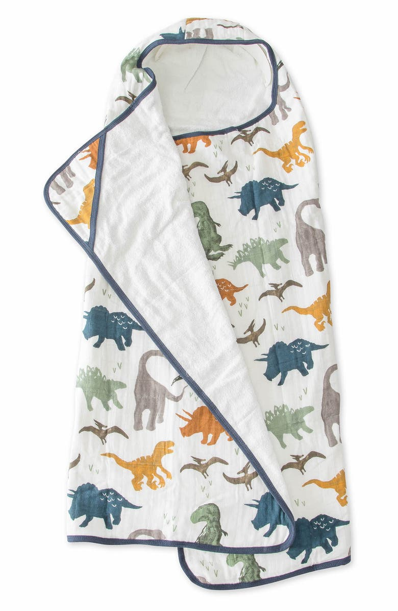 LITTLE UNICORN Hooded Towel, Main, color, DINO FRIENDS