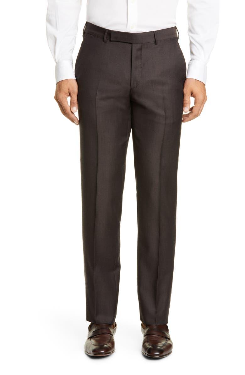 ERMENEGILDO ZEGNA Achilfarm Flat Front Solid Wool & Silk Dress Pants, Main, color, BROWN