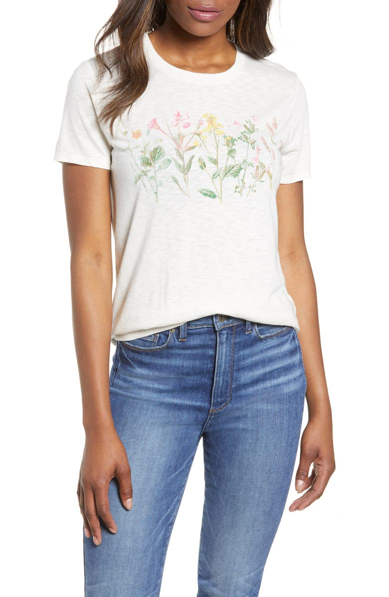 LUCKY BRAND Floral Banner Tee, Main, color, 110