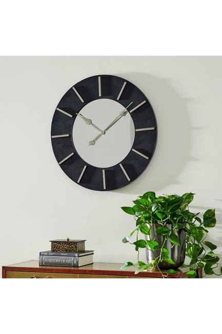 "Image of VENUS WILLIAMS COLLECTION Large Round Wood Wall Clock With Black Faux Leather Border And Gold Detail - 30"" X 30"""