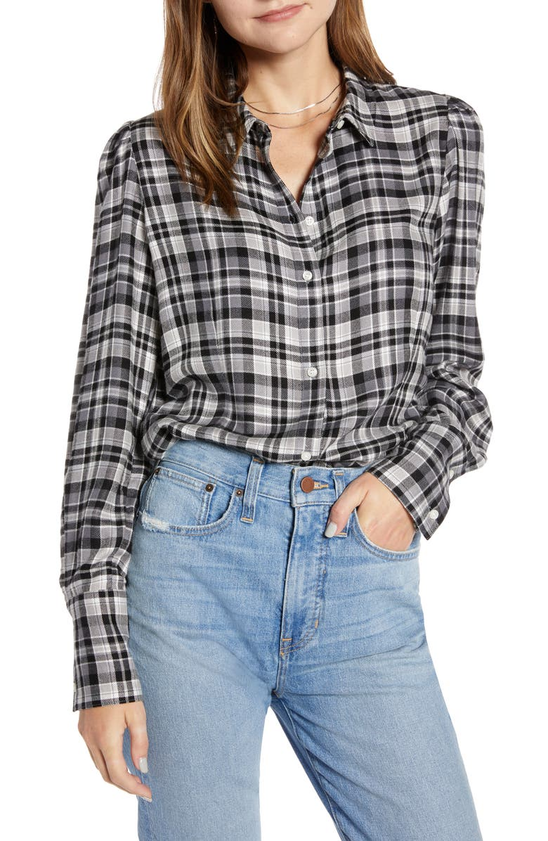 SOMETHING NAVY Fitted Flannel Top, Main, color, GREY STEEL HOUSTON PLAID