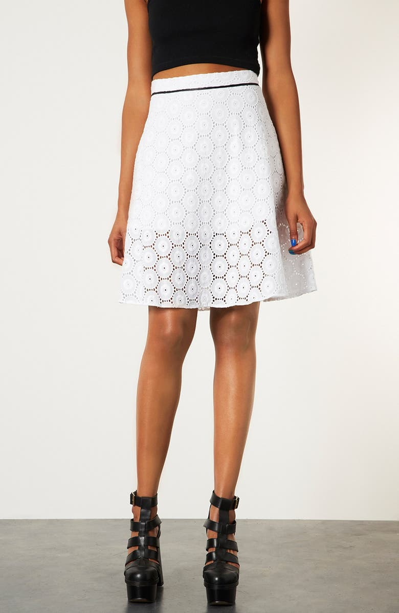 TOPSHOP Broderie Anglaise Skirt, Main, color, 100