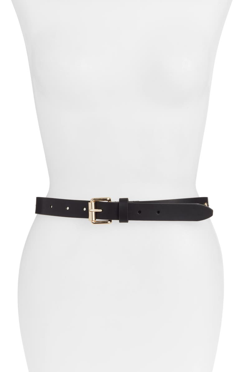 REBECCA MINKOFF Dome Stud Faux Leather Belt, Main, color, BLACK