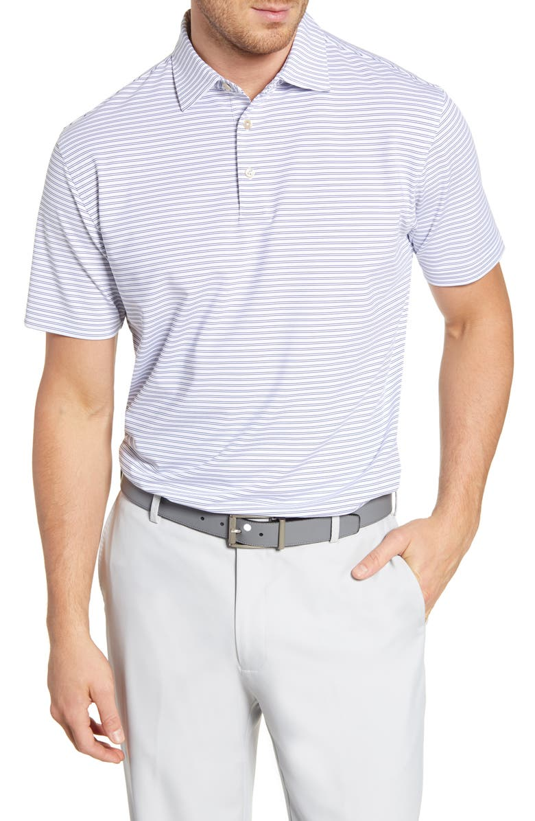 PETER MILLAR Regular Fit Shag Stripe Performance Polo, Main, color, SUBMARINE