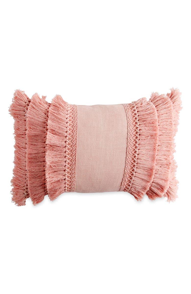 PERI HOME Fringe Pillow, Main, color, BLUSH