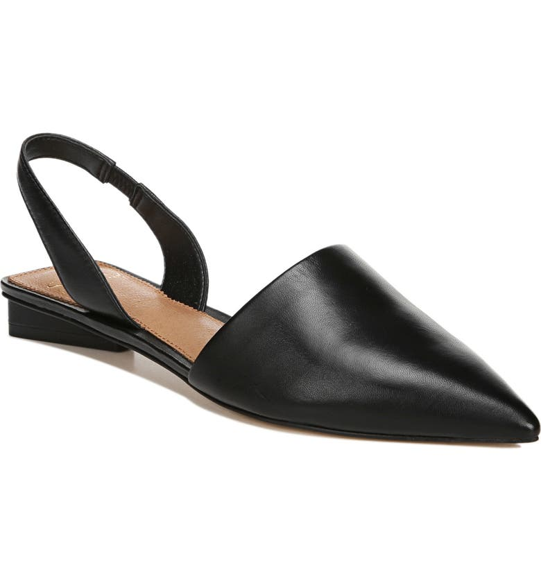 SARTO BY FRANCO SARTO Pointed Toe Slingback Flat, Main, color, BLACK NAPPA LEATHER