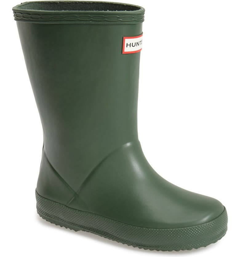 HUNTER First Classic Waterproof Rain Boot, Main, color, HUNTER GREEN