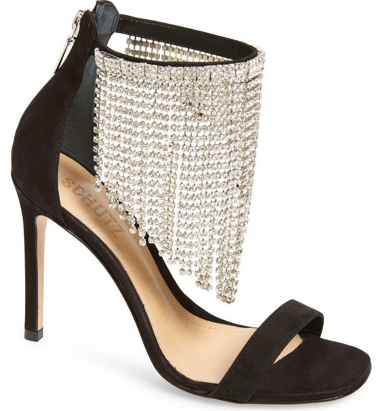 SCHUTZ Lory Crystal Fringe Sandal, Main, color, 013