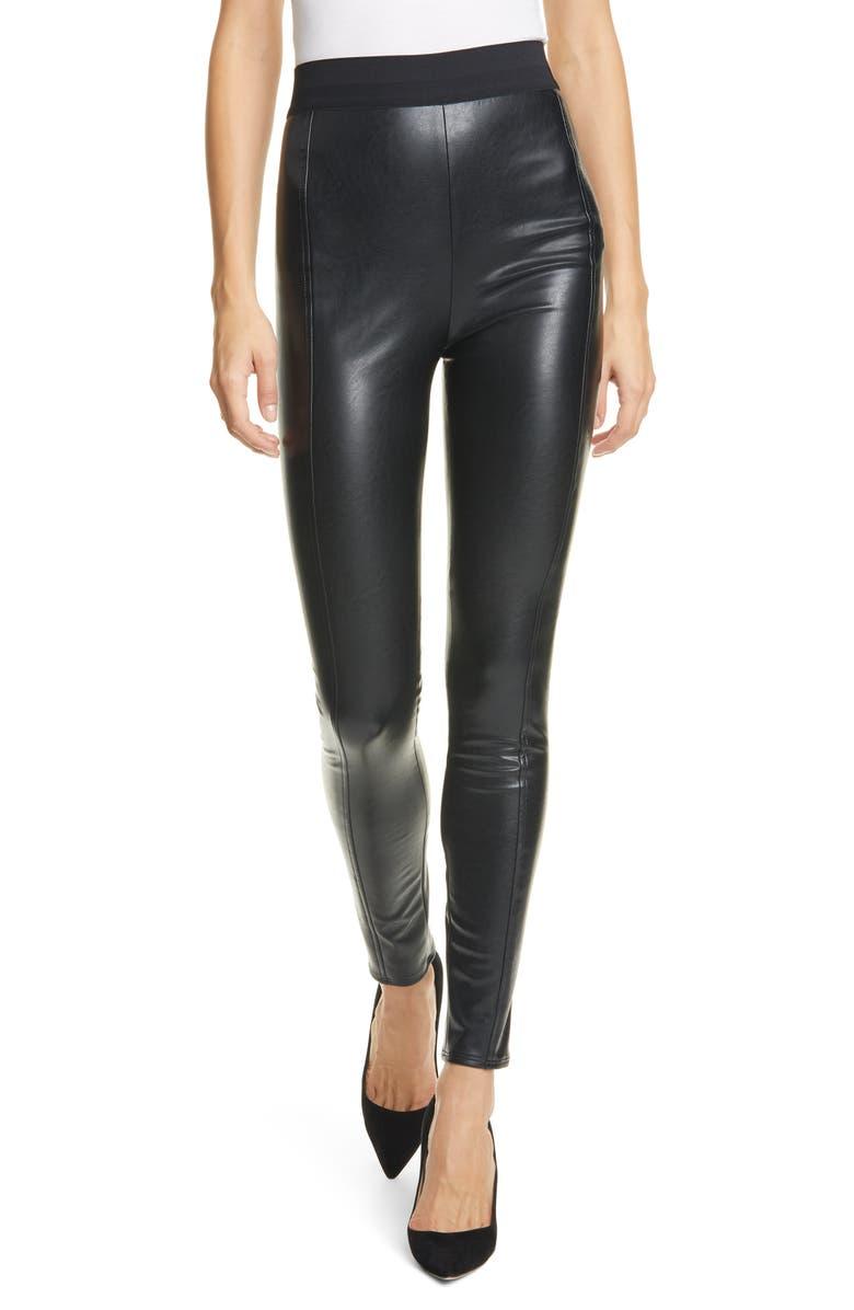 CINQ À SEPT Alice Faux Leather Pants, Main, color, 001