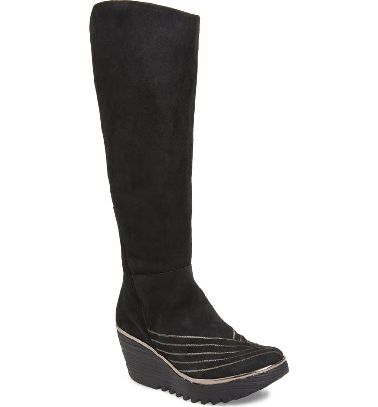 FLY LONDON Yuli Tall Boot, Main, color, BLACK/ BRONZE LEATHER