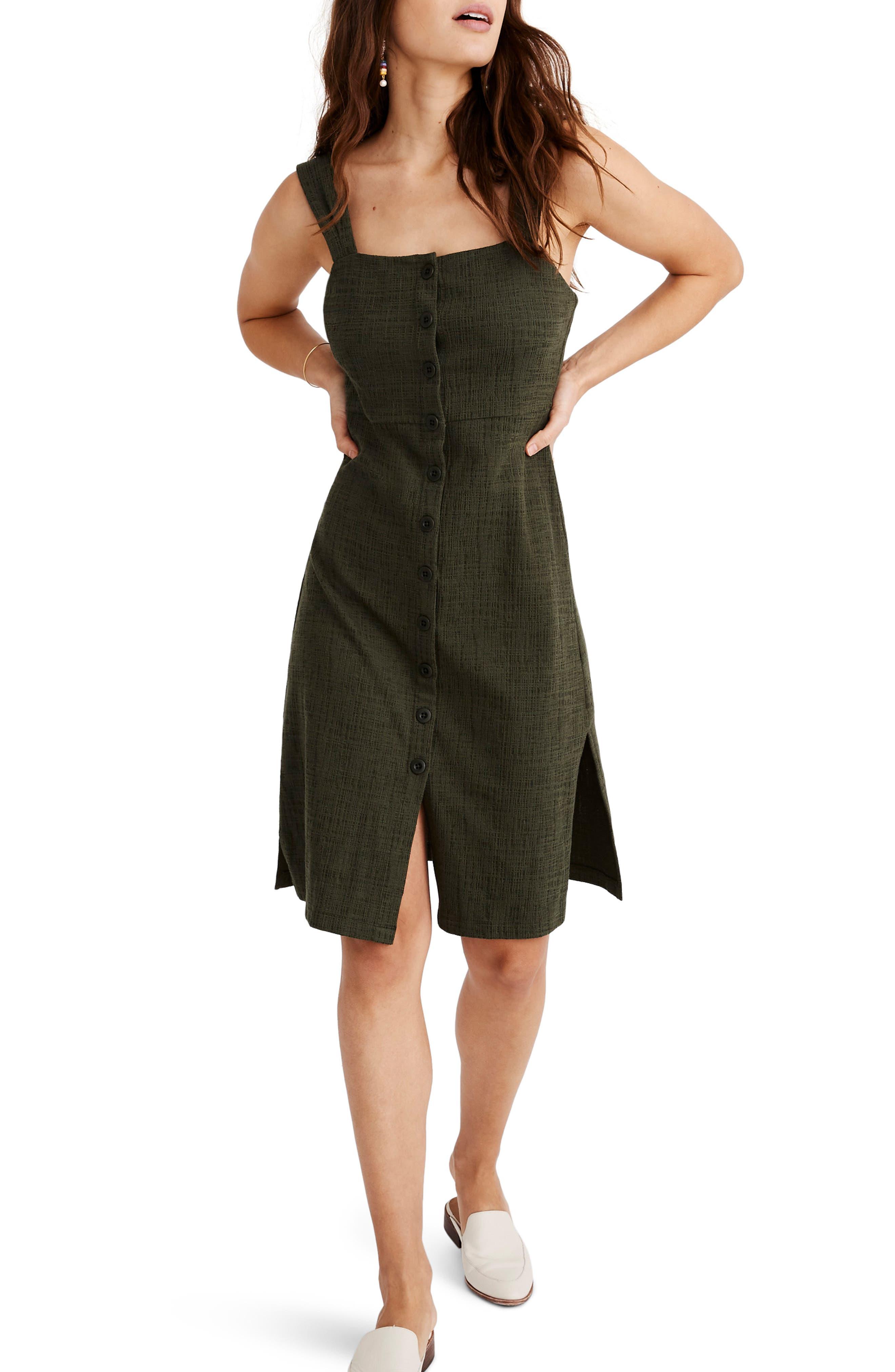 Madewell Texture & Thread Button Front Dress, Green