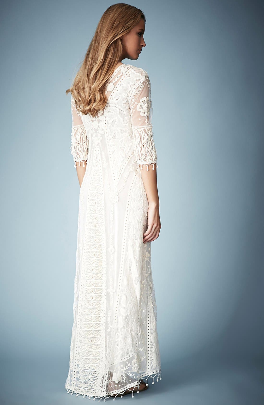 ,                             Kate Moss for Topshop Crochet Lace Maxi Dress,                             Alternate thumbnail 5, color,                             101