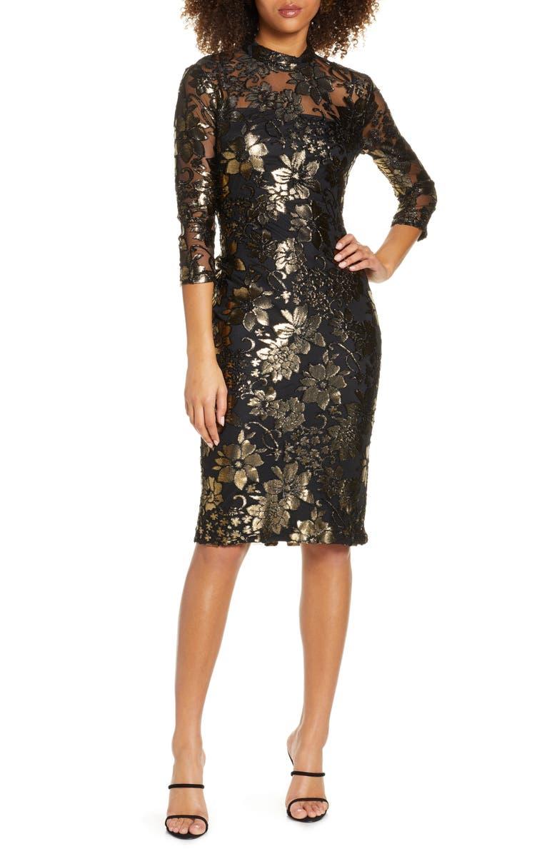 RACHEL RACHEL ROY Nadia Metallic Lace Cocktail Dress, Main, color, GOLD