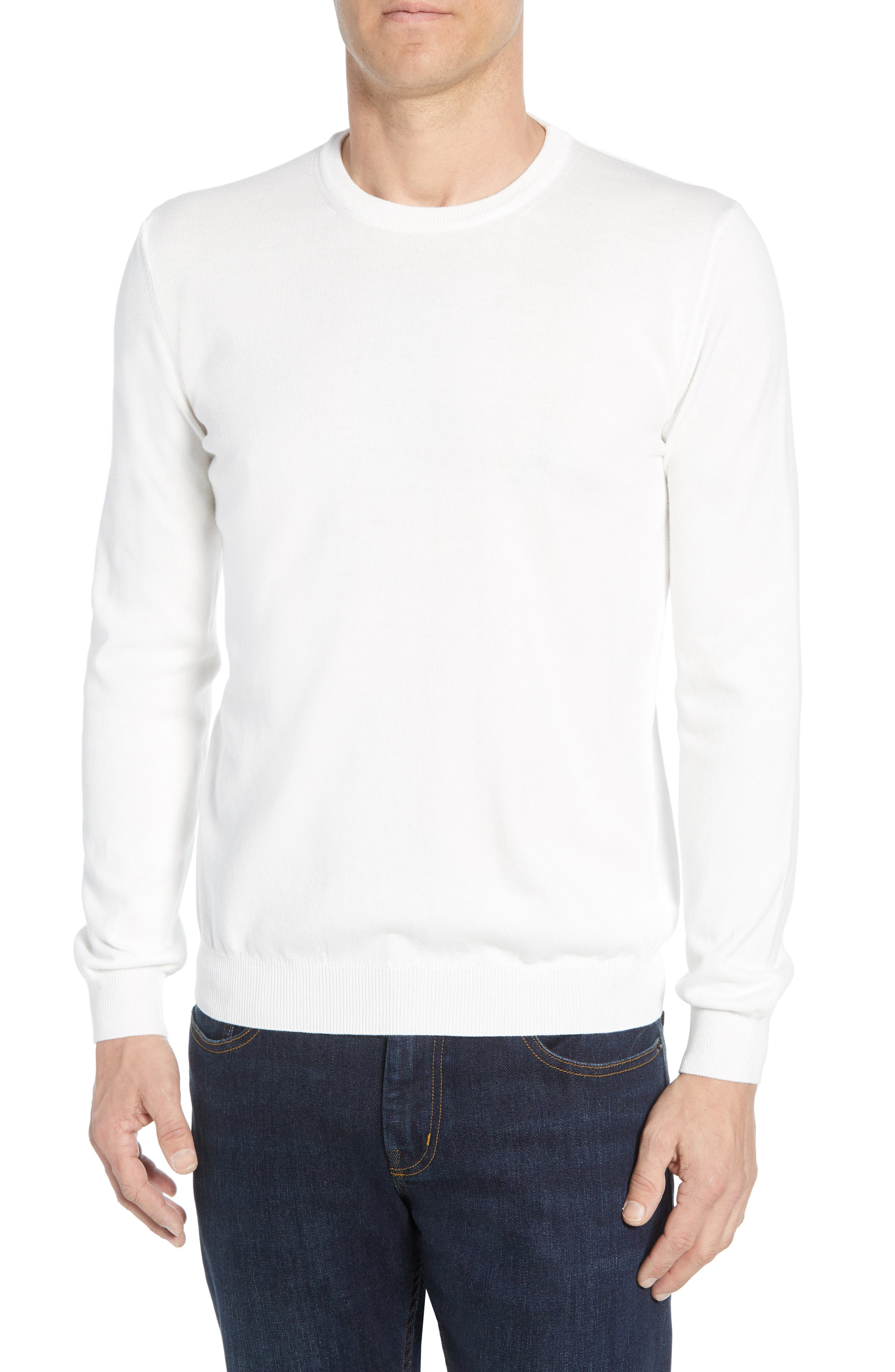 men's bugatchi regular fit sweater, size small - white