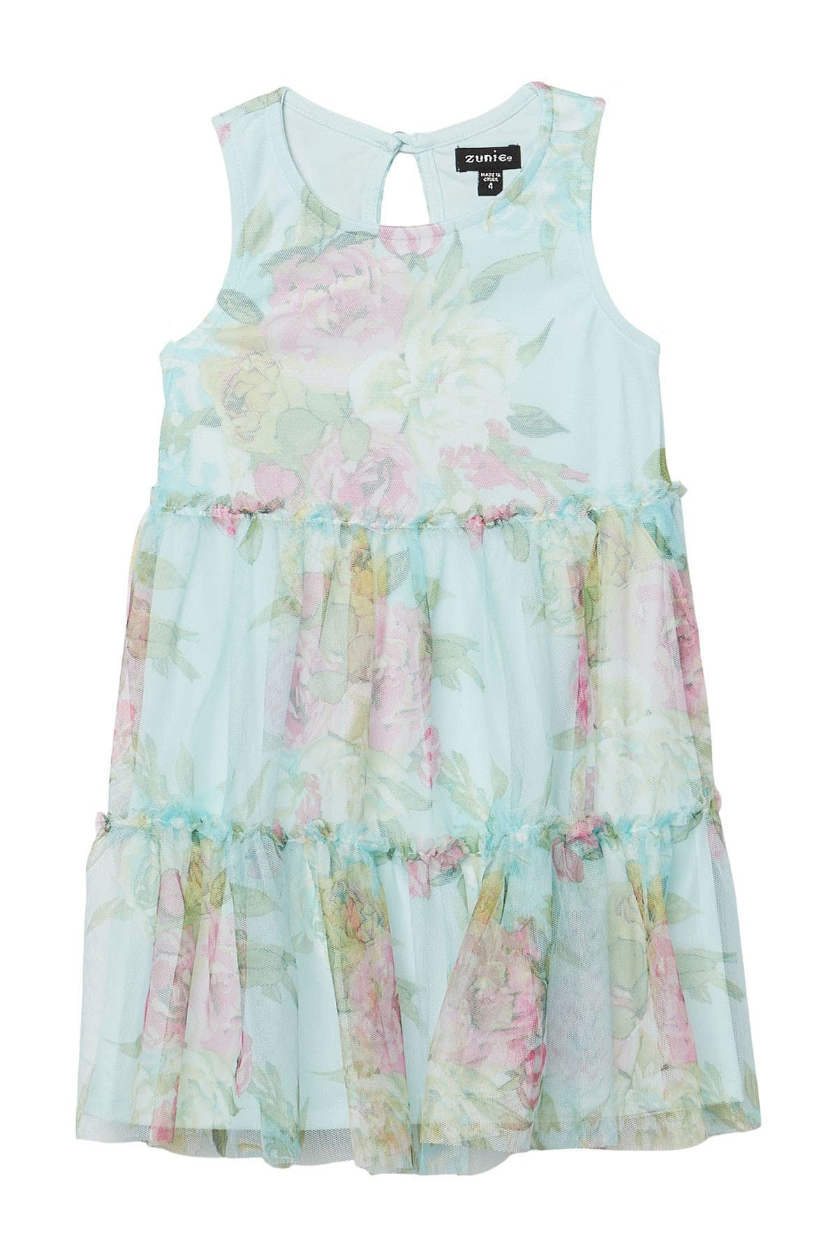 Image of Zunie Floral Print Mesh Tiered Dress
