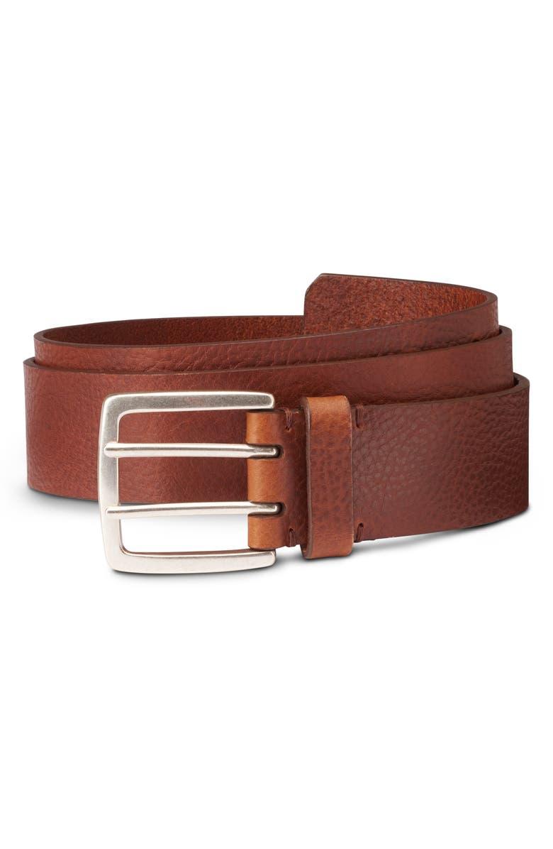 ALLEN EDMONDS Ranger Street Leather Belt, Main, color, TAN