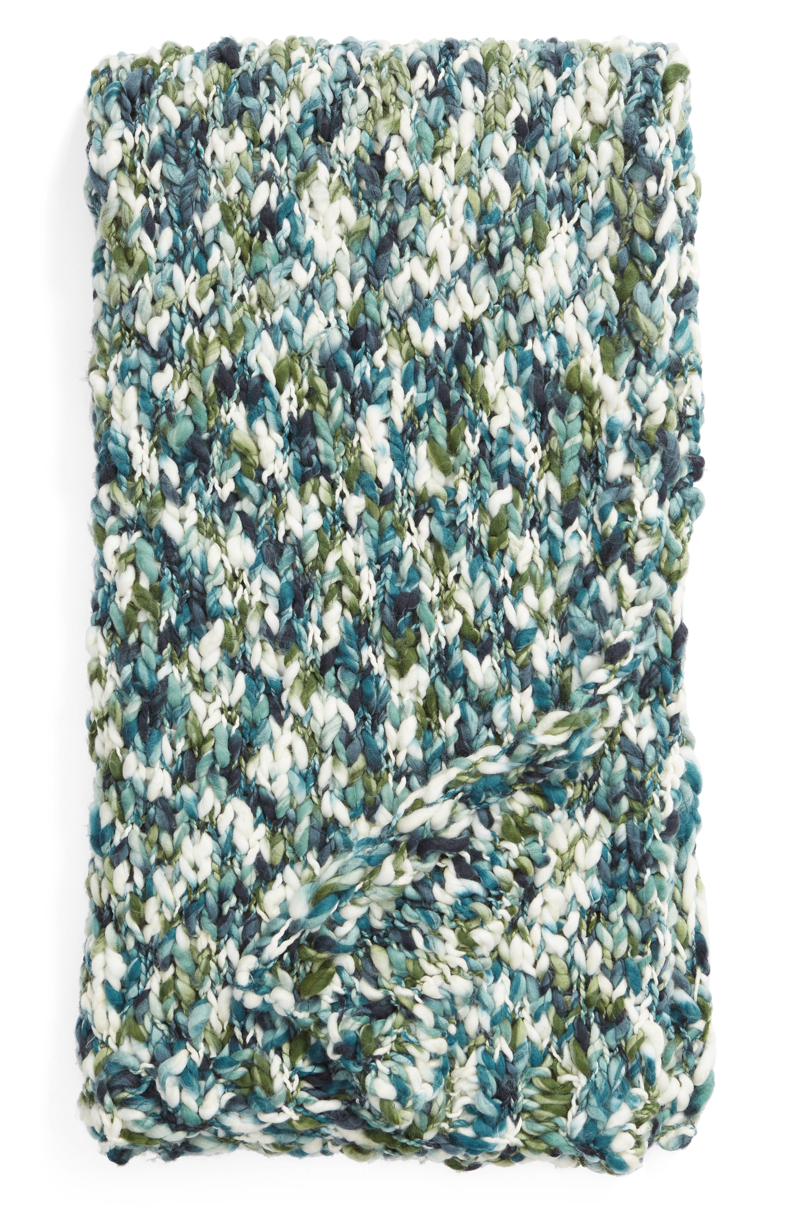 ,                             Knit Throw,                             Main thumbnail 1, color,                             GREEN SHORE MULTI