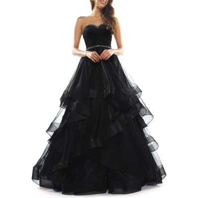 Colors Dress Tiered Mesh Strapless Ballgown