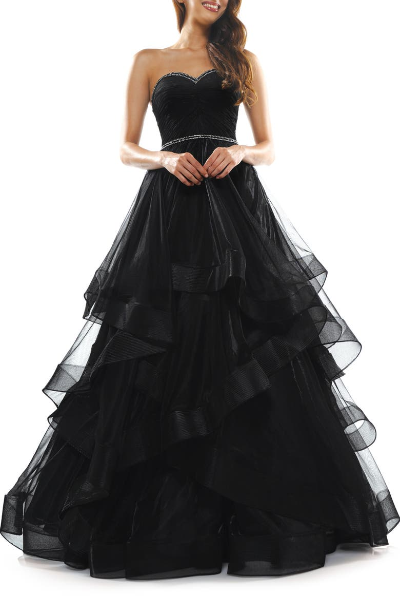COLORS DRESS Tiered Mesh Strapless Ballgown, Main, color, BLACK