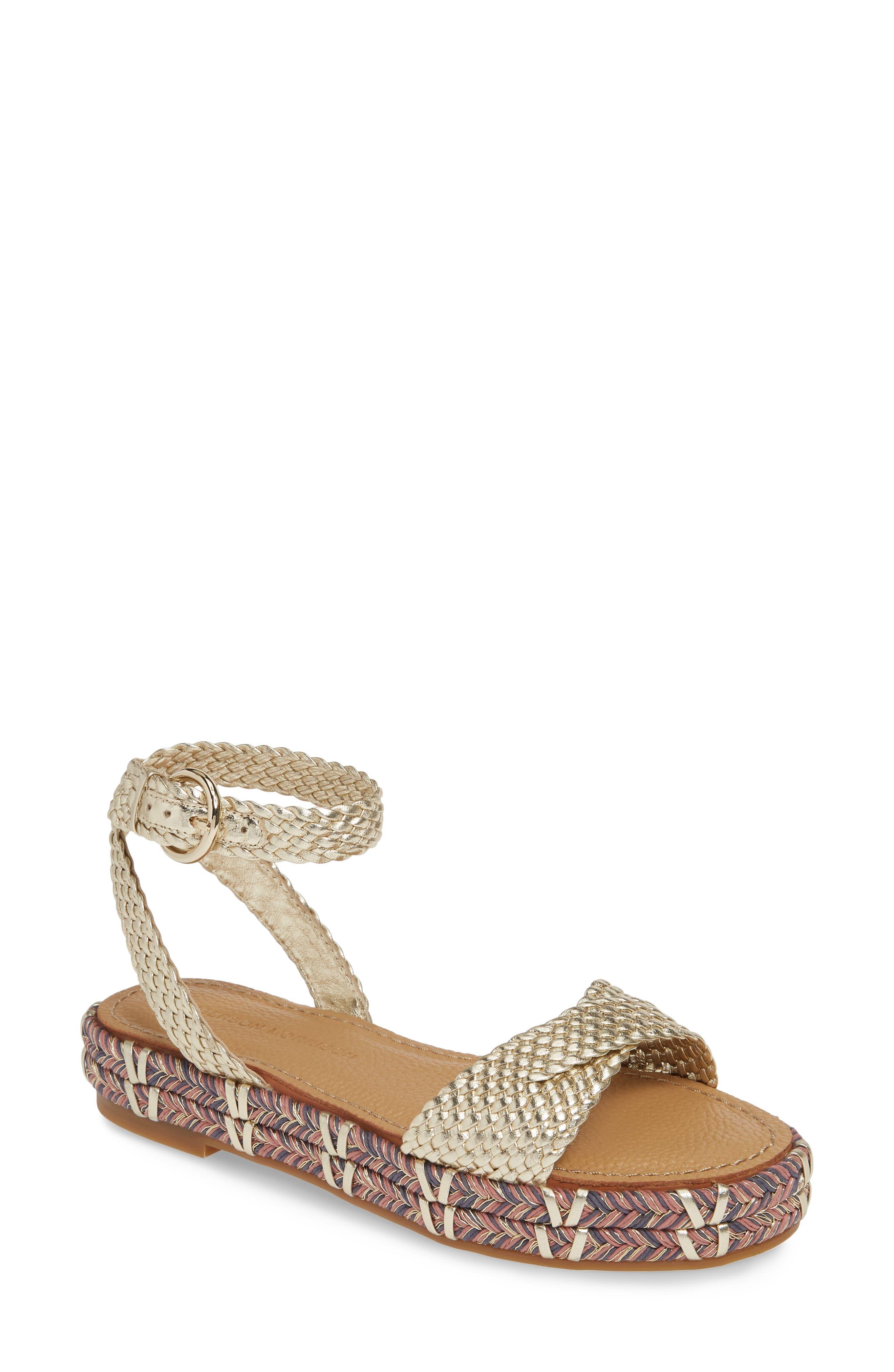 Sigerson Morrison Jaiyce Woven Platform Sandal, 7. - Metallic