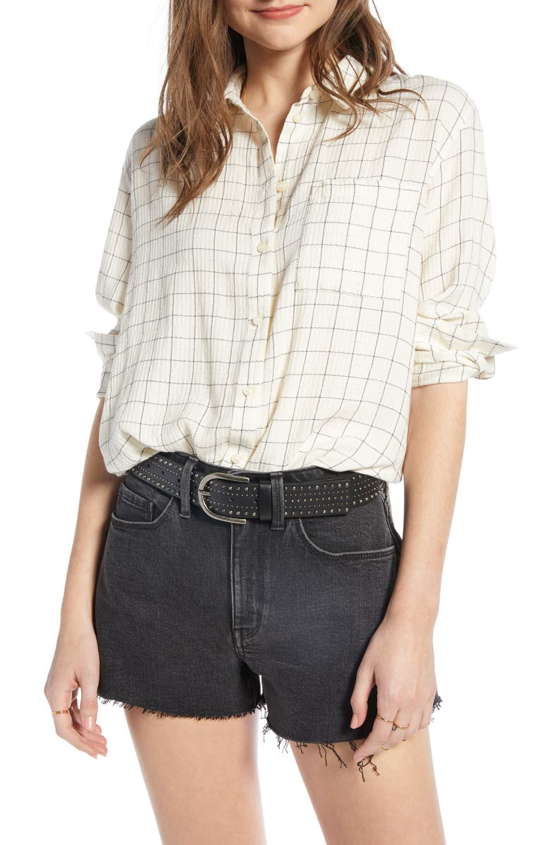TREASURE & BOND Breezy Check Boyfriend Shirt, Main, color, WHITE- BLACK STRETCH CHECK