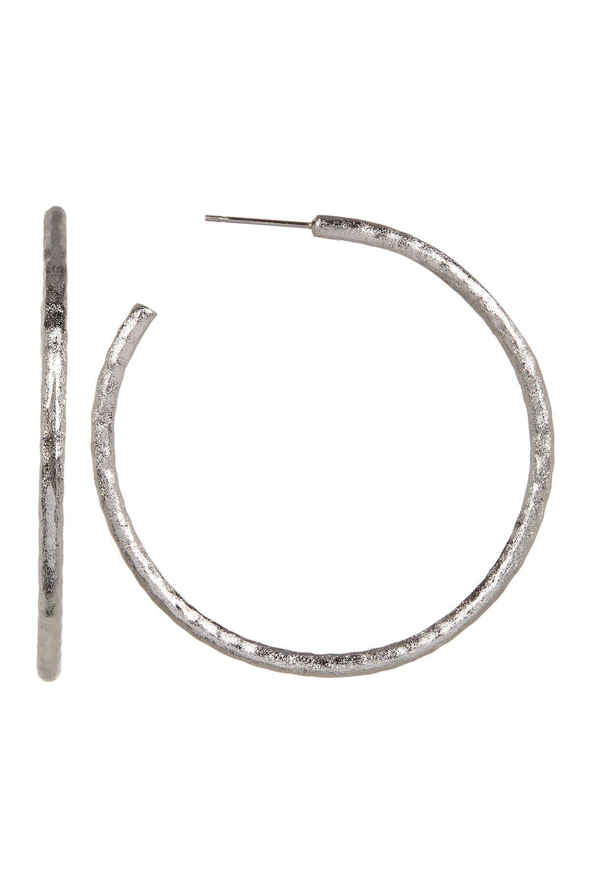 Image of Rivka Friedman White Rhodium Clad Hammered Satin Post Hoop Earrings