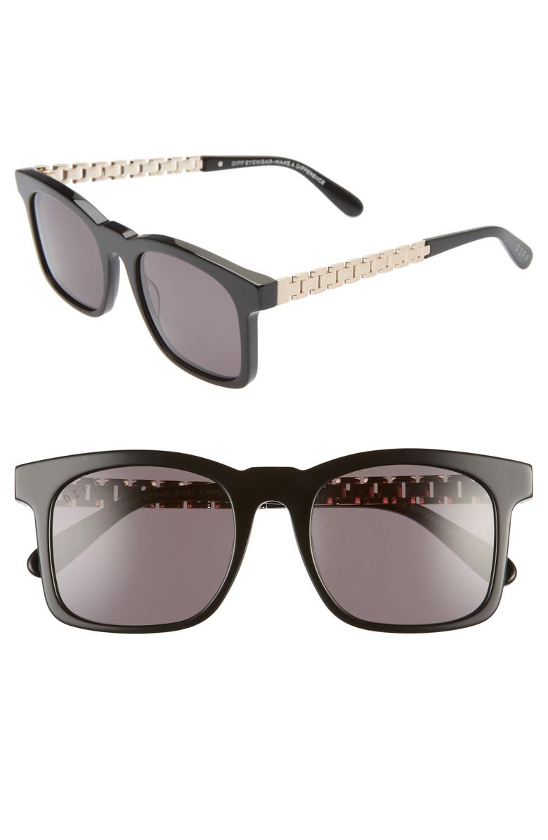 DIFF Chance 47mm Sunglasses, Main, color, BLACK/ GREY