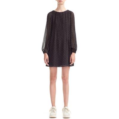 Maje Rockito Dot Pattern Long Sleeve Shift Dress, (fits like 8 US) - Black