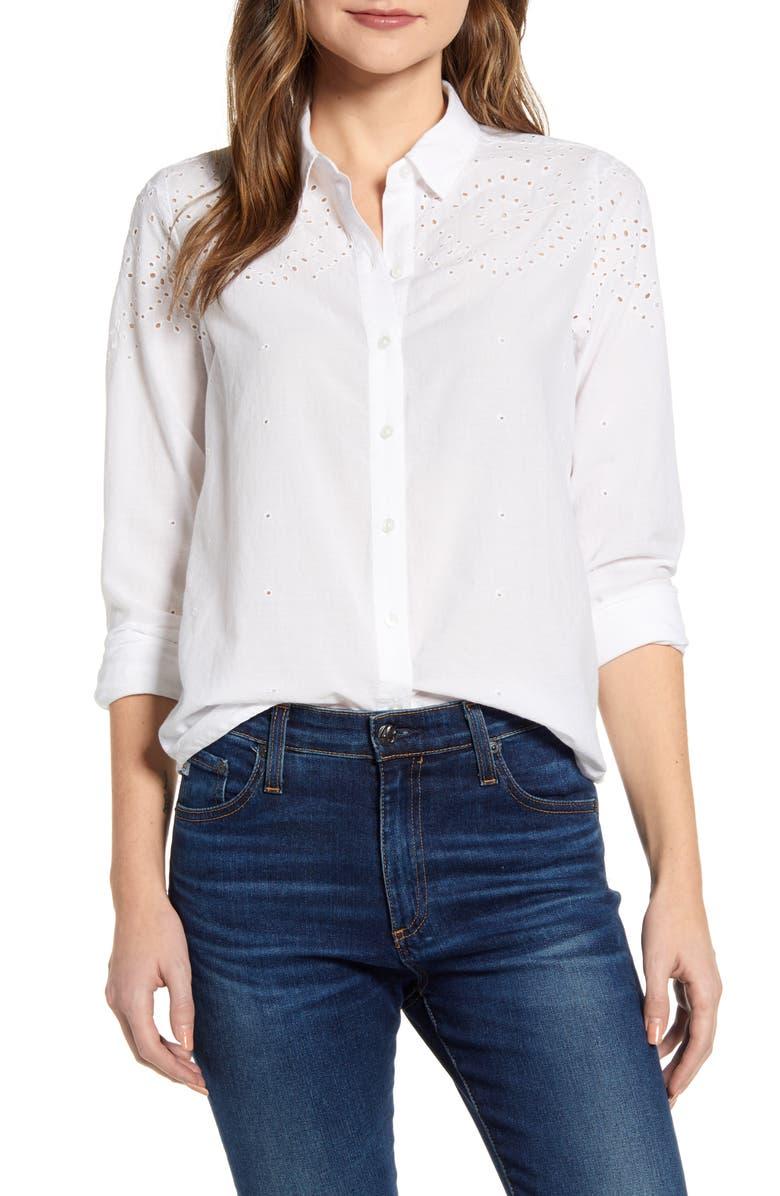 LUCKY BRAND Eyelet Yoke Cotton Shirt, Main, color, LUCKY WHITE