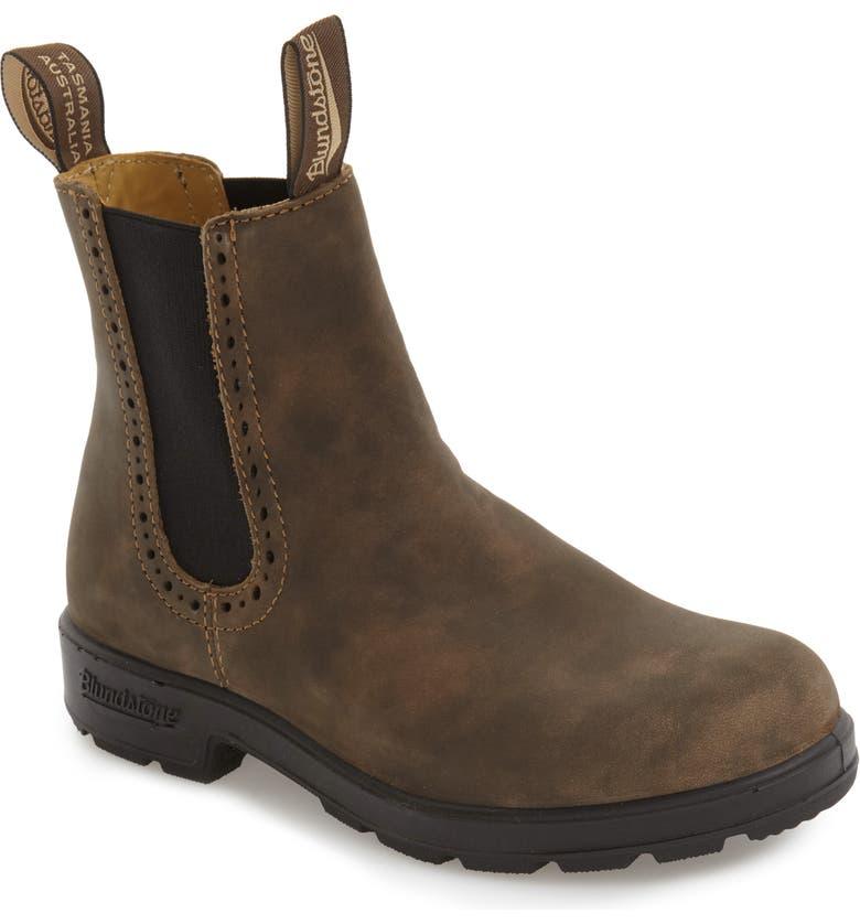 BLUNDSTONE FOOTWEAR Original Series Water Resistant Chelsea Boot, Main, color, RUSTIC BROWN LEATHER
