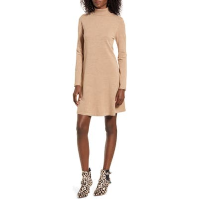 Vero Moda Happy Roll Neck Long Sleeve A-Line Sweater Dress, Brown