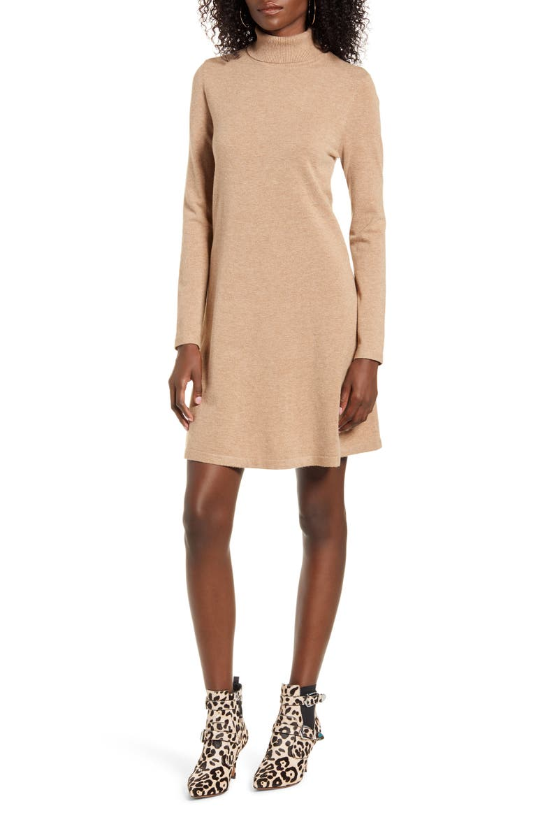 VERO MODA Happy Roll Neck Long Sleeve A-Line Sweater Dress, Main, color, TOBACCO BROWN