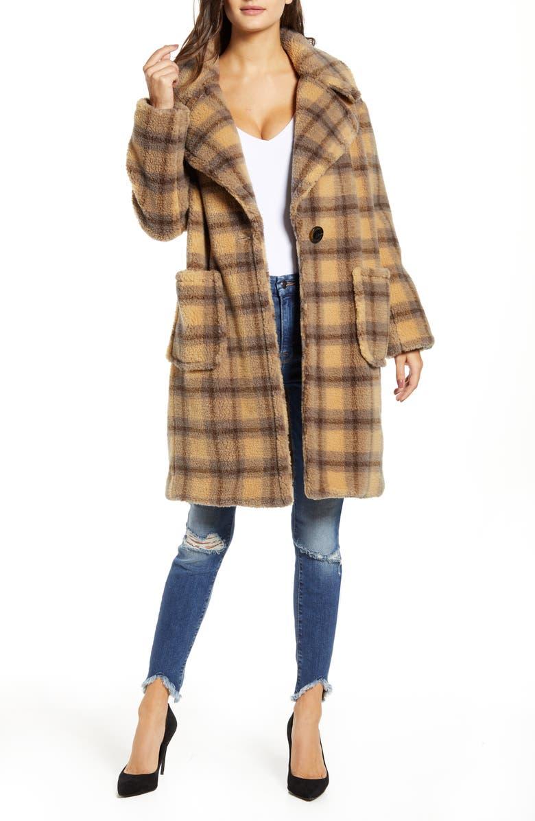 KENDALL + KYLIE Plaid Teddy Coat, Main, color, CAMEL