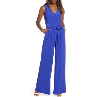 Eliza J Sleevless Wrap Bodice Jumpsuit, Blue
