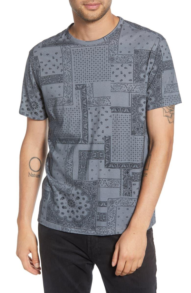 JOHN VARVATOS STAR USA Bandana Cotton Crewneck T-Shirt, Main, color, FLAGSTONE GREY