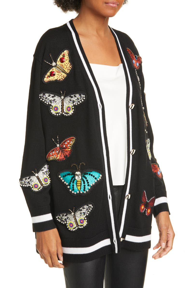 ALICE + OLIVIA Bradford Embellished Butterfly Wool Blend Grandpa Cardigan, Main, color, BLACK/ MULTI