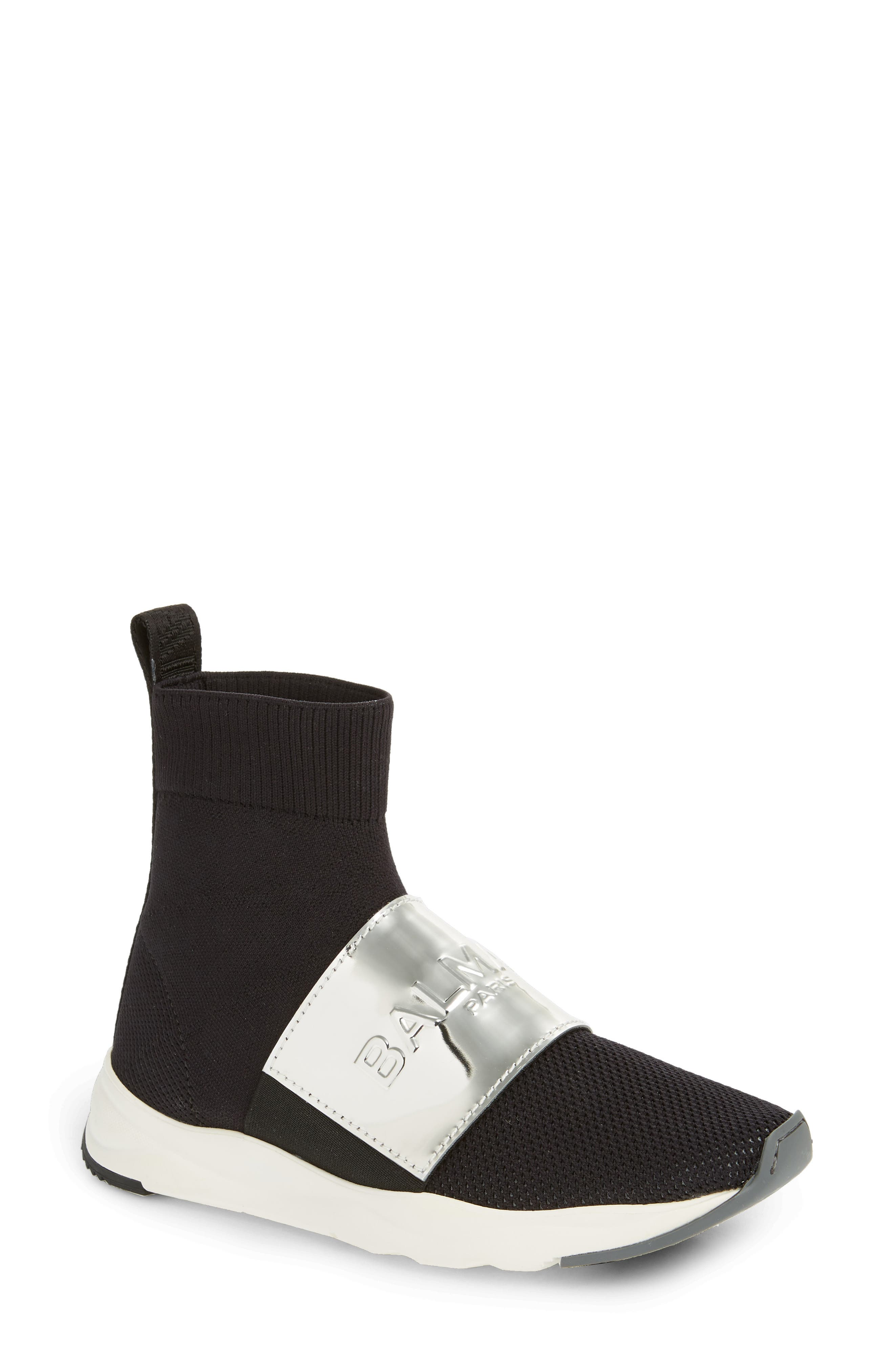 Cameron Knit Sneaker Boot, Main, color, BLACK/ SILVER
