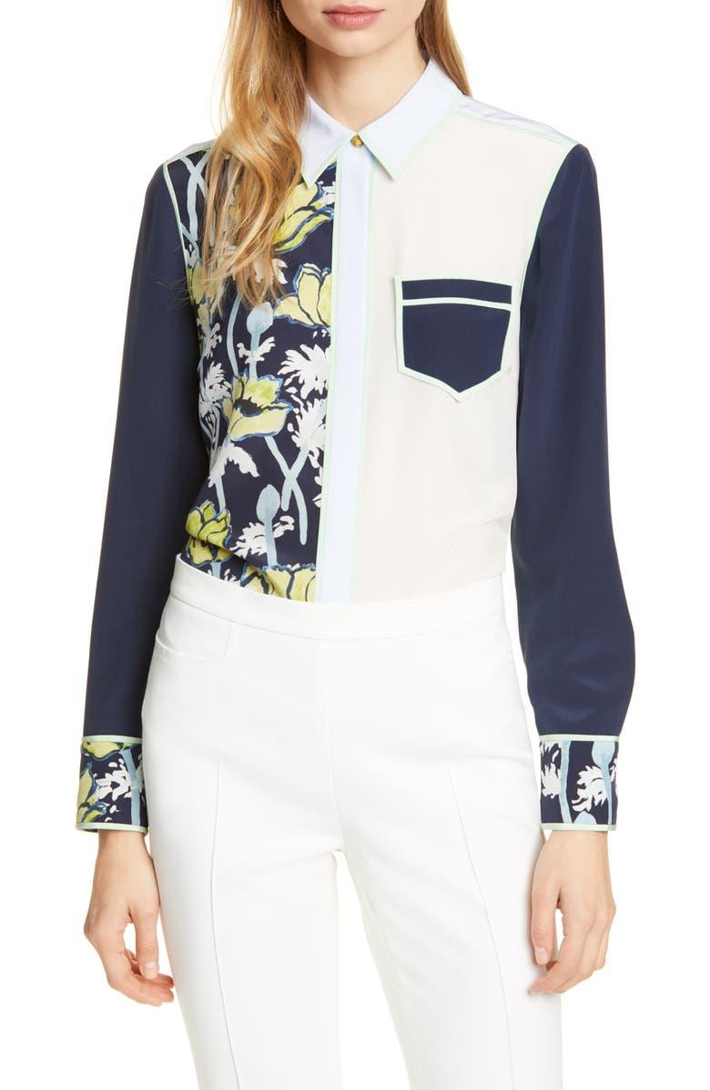 TORY BURCH Jackie Silk Shirt, Main, color, NAVY POPPIES BLOOM