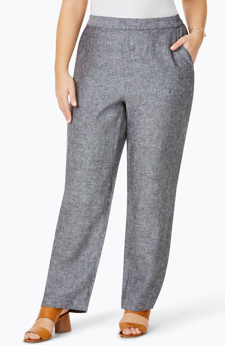 Foxcroft Pull-On Linen Pants (Plus Size) | Nordstrom