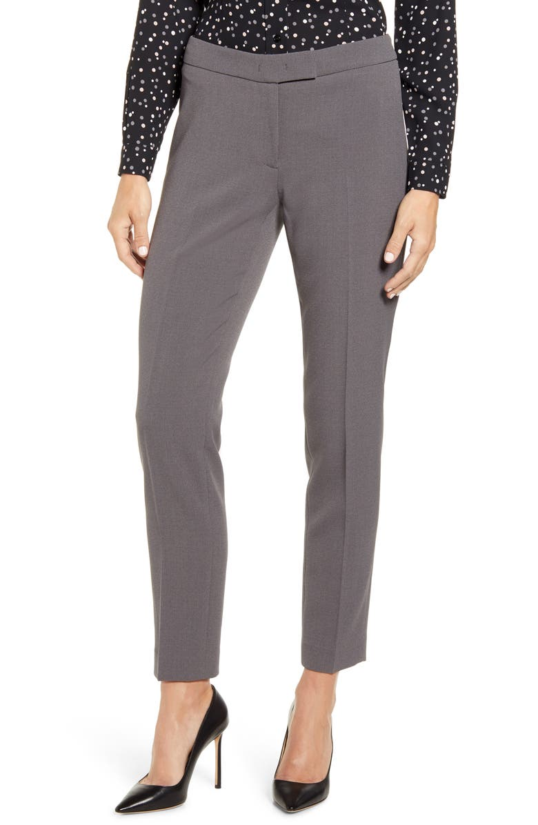 ANNE KLEIN Slim Fit Flat Front Pants, Main, color, ZINC