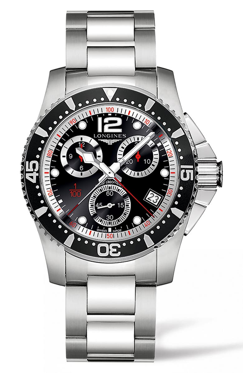 LONGINES HydroConquest Chronograph Bracelet Watch, 41mm, Main, color, SILVER/ BLACK/ SILVER